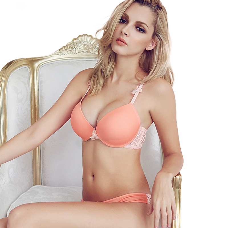 Sexy Mousse Winter Sexy Elegante BH en Slip Set Dames Ondergoed push up Lingerie Naadloze roze oranje bh korte set