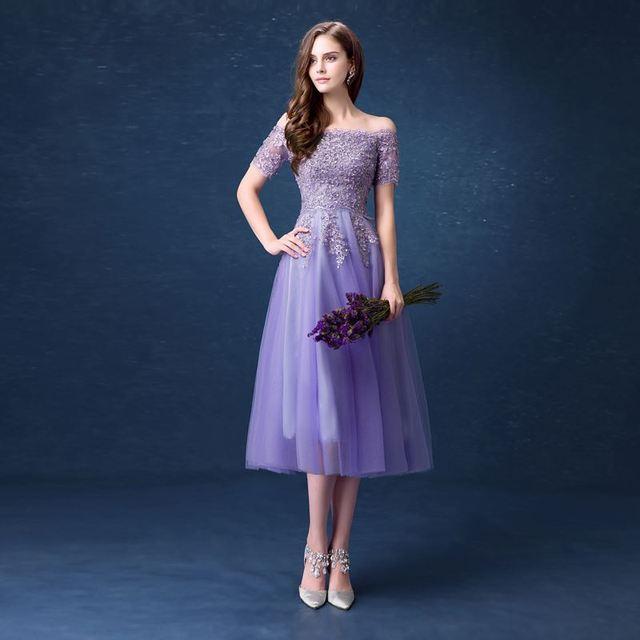 La Gracia de la moda Púrpura Vestidos de Noche de la Nueva Llegada Del Barco Cuello de Tul Bordado Uña Con Lentejuelas Con Cuentas de Longitud de Té Formal Dre