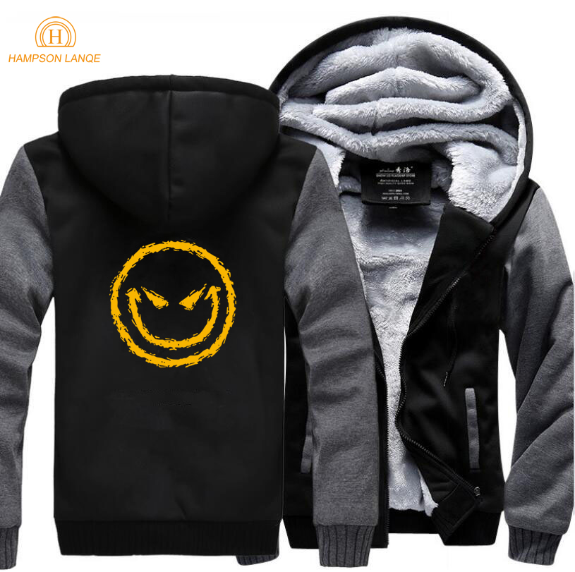 Evil's Smile Face Fashion Hoodies Mens 2019 Winter Warm Fleece Plus Size Sweatshirts Men Thicken Casual Hooded Brand Men's Coat