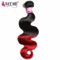 SAY ME Ombre Brazilian Hair Body Wave 1b Burgundy Non Remy Human Hair Extensions Weave Bundles