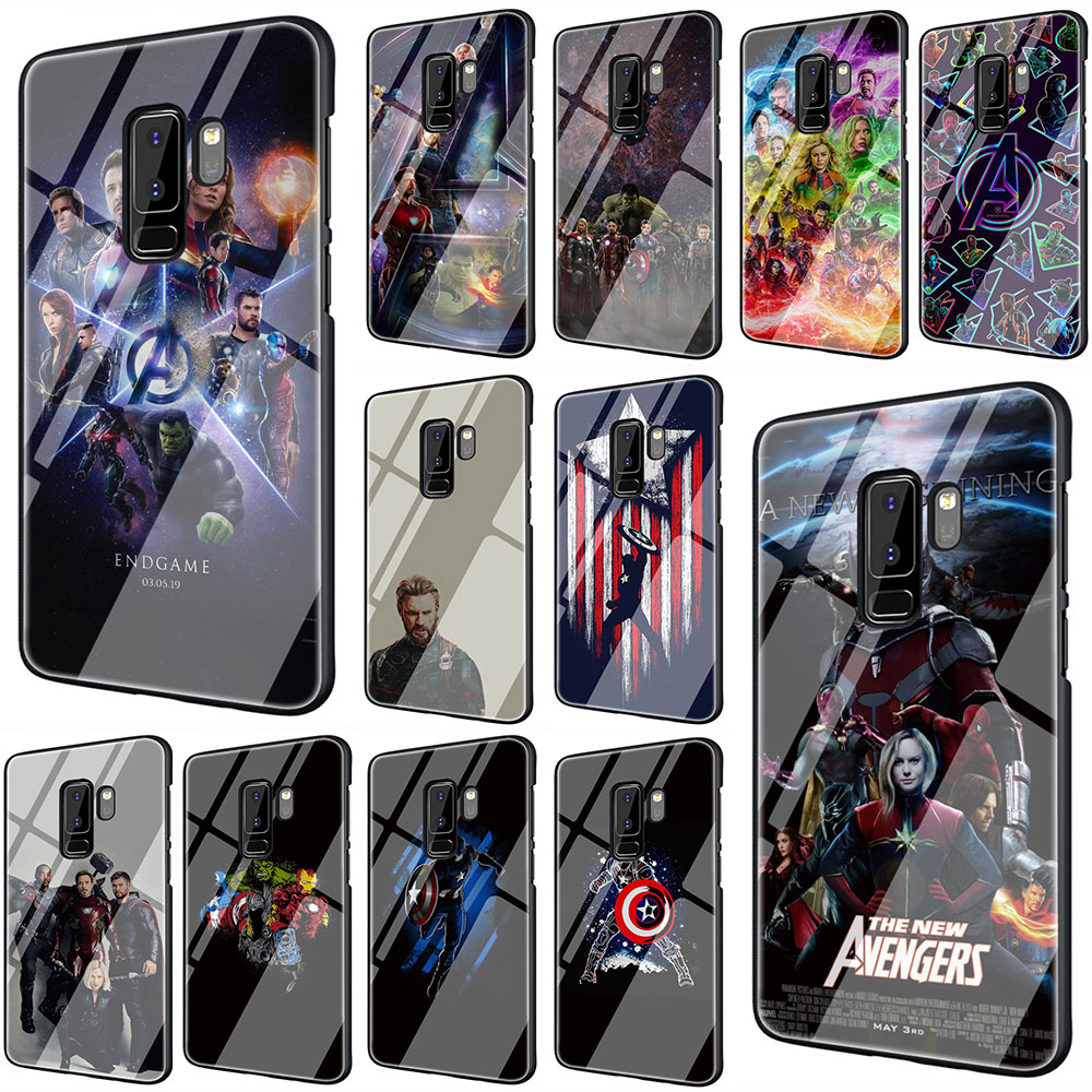 Marvel Superheroes Tempered Glass TPU Black Cover Case for Galaxy S7 Edge S8 S9 Plus S10 Note 8 9 A10 20 30 40 50 60 70 marvel glass iphone case