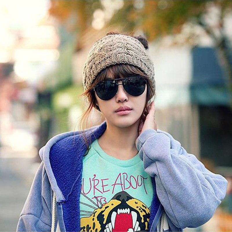 Women Winter Warm Messy Bun Ponytail Beanie Holey 2018 Brand New Girls Warmer Knitted Stretch Autumn Turban Cap Casquette CP0164 (2)