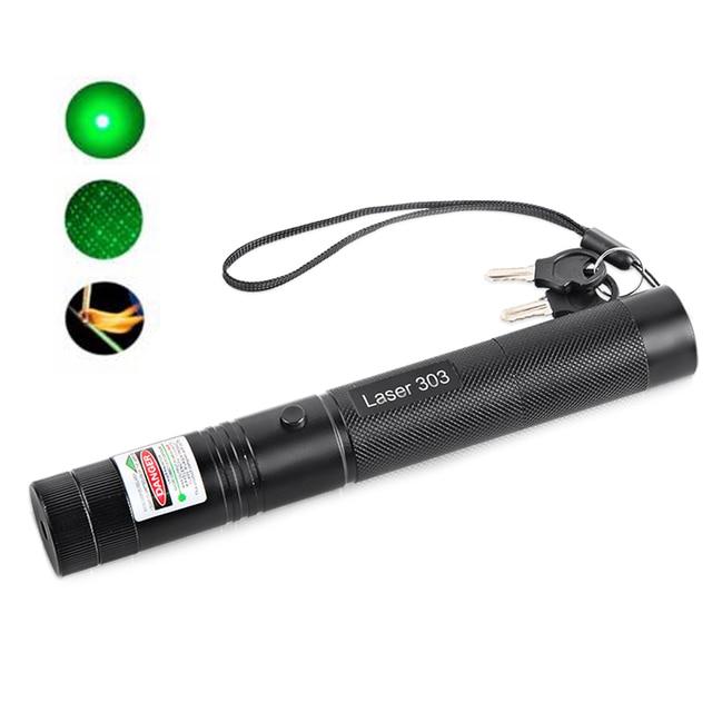 Военная Высокой Мощности Зеленая Лазерная Указка 532nm 5 МВт 303 Ручка Лазера Лазер указка С Звездное Голову Горящая Спичка Настраиваемым длина