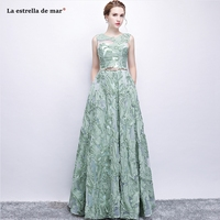 robe demoiselle d'honneur new Scoop neck lace embroidery A Line mint green bridesmaid dress long plus size vestido madrinha