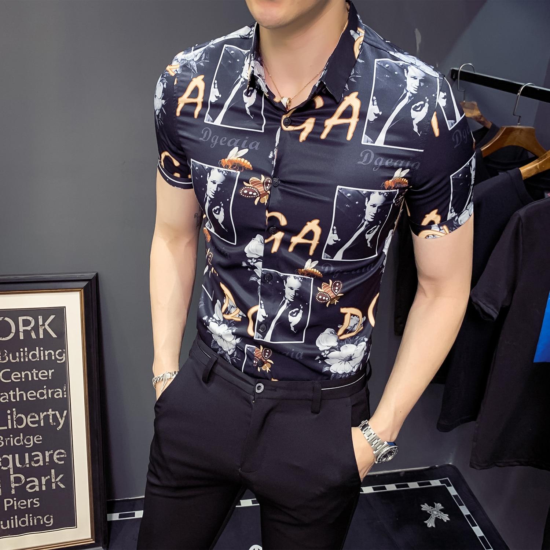 England Men Printing Short Sleeve Shirt Designer Night Club Tuxedo Shirts Men Slim Fit Shirt Streetwear Camisa Social Masculina