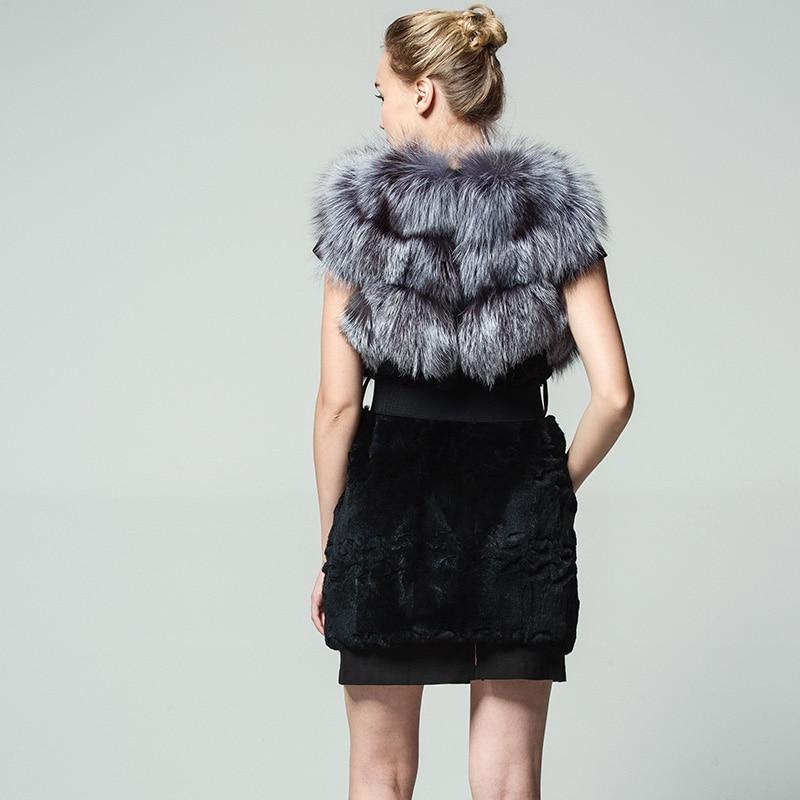 2018 neue muster Echte Natürliche Kaninchenfell Silberfuchs pelze - Damenbekleidung - Foto 4