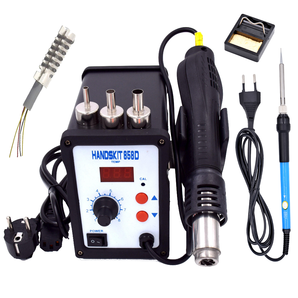 DHL free shipping  2in 1  set 700W 858D+ ESD LED BGA Rework Solder Station  with adjustable soldering iron 905c dhl free shipping hot sale 220v hakko fx 888 fx888 888 solder soldering iron station with 10 free tips 900m t