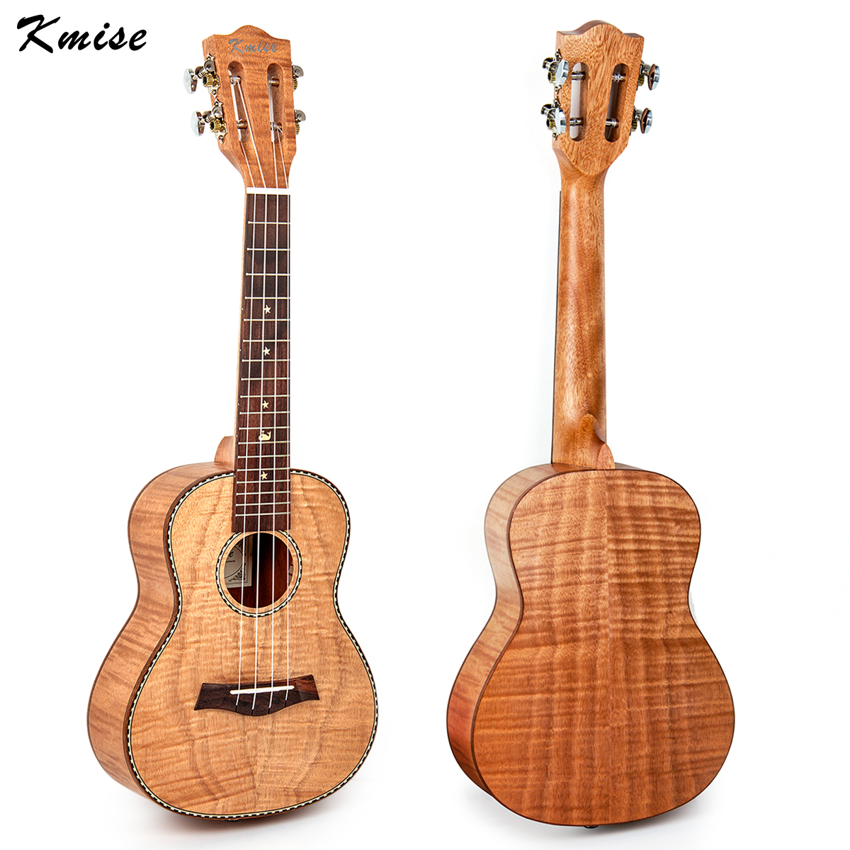 Kmise Concert Ukulele Solid Tiger Flame Okoume Classical Guitar Head 23 inch Ukelele Ukelele 4 String Hawaii Guitar concert ukulele kmise uke 23 inch basswood black tint satin 4 string hawaii guitar with gig bag tuner