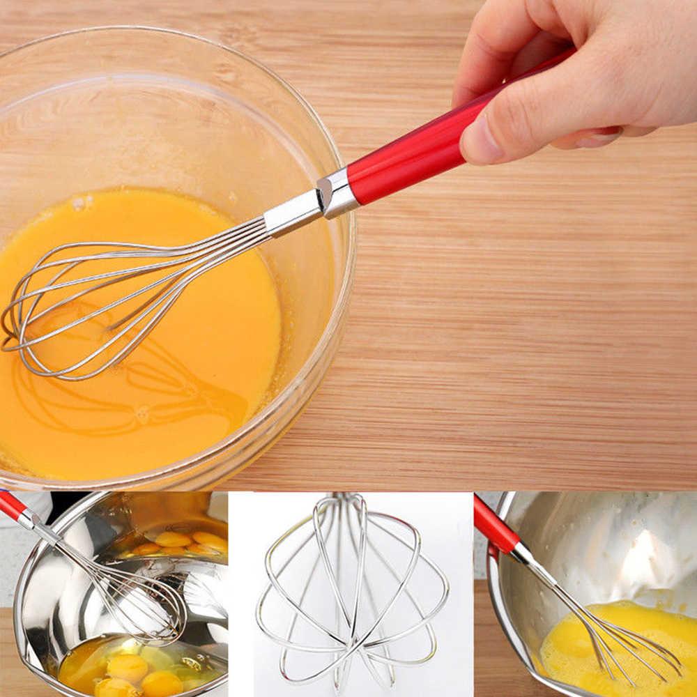 1 Pc Prata Lidar Com Batedor De Ovos de Aço Inoxidável Leite Frother Foamer Whisk Mixer Egg Agitador Muddler Suco de Tratador de Cozinha Ferramentas