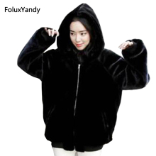7 XL Plus Size Faux Fur Coat for Women Winter Style Casual Warm Thick Hooded Faux Fur Coats Black Outerwear MY03