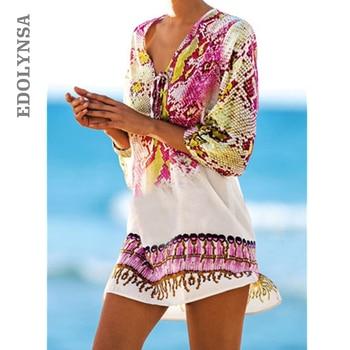 Beach Dress Chiffon Kaftan Sexy Dress Bathing Suit Tie Long Top Bikini Swimwear Robe Beach Sarongs Pareo Short Dress#C44