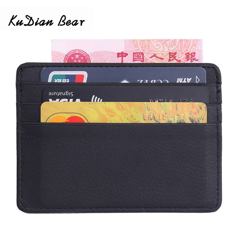 KUDIAN BEAR Leather Slim Men Credit Card Holder Brand Designer Card Organizer Male Wallets Purses tarjetero hombre BIH062 PM49