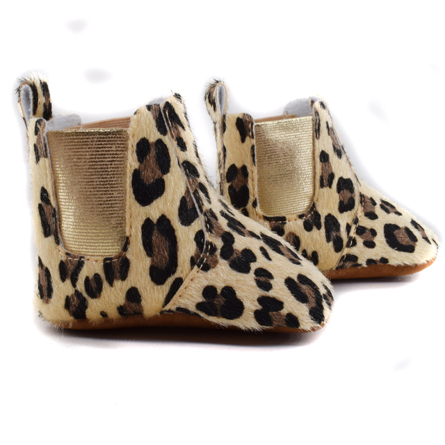 2016 Cute fur Winter Boots Fashion Soft Bottom Baby Moccasin leopard Baby First Walkers Warm Boots Non-slip Boots for Baby Girls