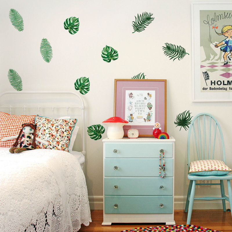24Pcs Leaf Removable Decal Room Wall Sticker Window Door Cabinet Stove Stickers Tile Vinyl Art Hot DIY Decor Home Family