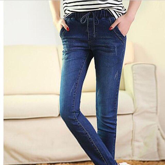 Jeans for woman Of 2017 Autumn New Female Pencil Pants Slim Feet blue elastic waist Jeans Trousers Women Jeans Long Pants 1023#