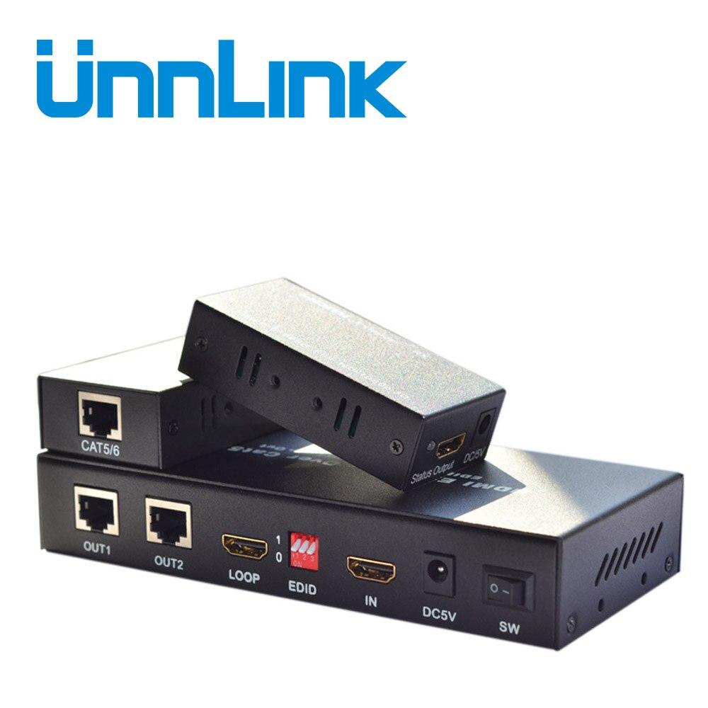 Extensor HDMI 60 Unnlink m 1X2 CAT5E/6 HDMI Splitter 1 * Suporte a Extensão 2 1080P @ TX e RX 60 hz Over Ethernet RJ45 Cabos