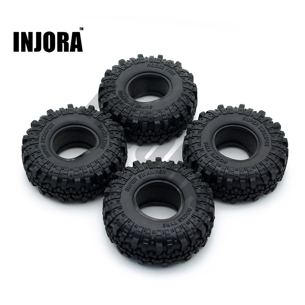 4PCS 1.9 Rubber Tyre / Wheel Tires for 1:10 RC Rock Crawler Axial SCX10 90046 Tamiya CC01 D90 D110
