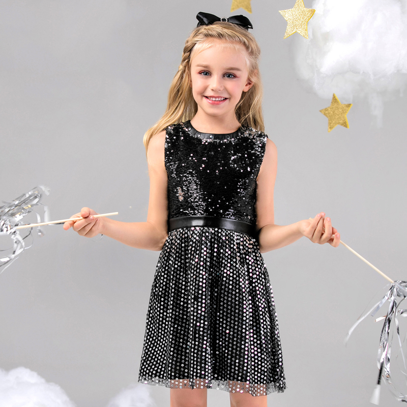 Girls black sequined screen dress sleeveless vest dress stitching childrens dressGirls black sequined screen dress sleeveless vest dress stitching childrens dress