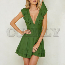 CUERLY Sexy deep v-neck women linen dress Elegant short ruffle sleeve mini Backless lace up summer party vestidos