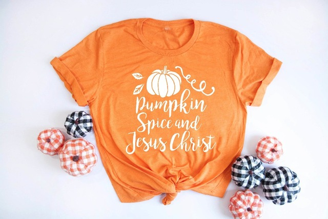 47462800 Pumpkin Spice Jesus Christ Shirt Christian T Shirt graphic funny Halloween  pretty girl fashion slogan tee kawaii cute top tshrit