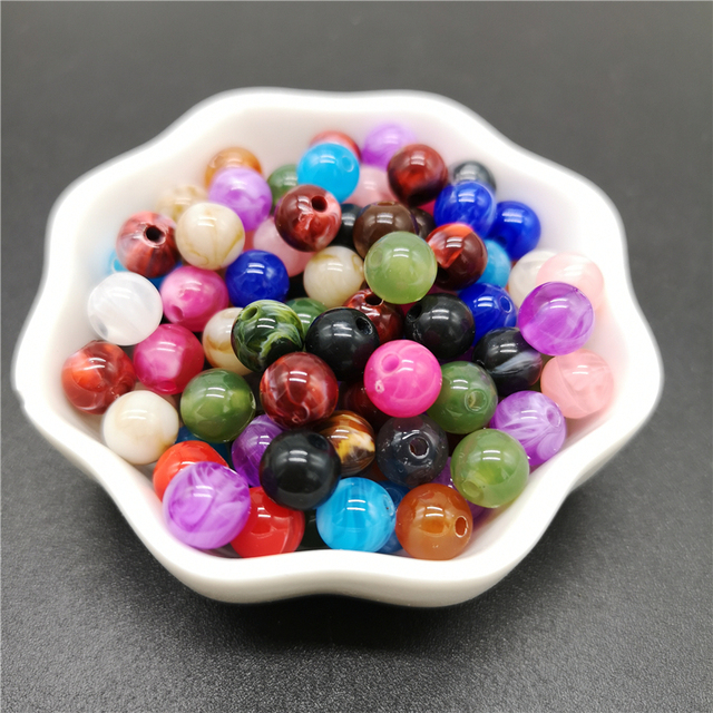6 8 10 mm Imitation Natural Stone Round Acrylic Beads Clouds Effect Beads For Jewelry Makeing Bracelet necklace DIY Accessory