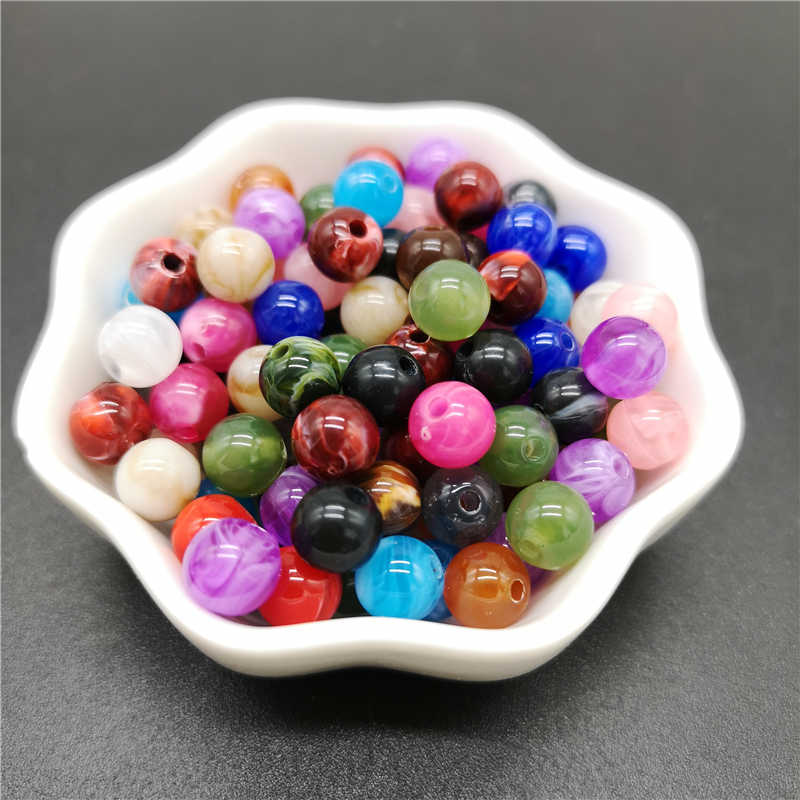 6 8 10mm Nachahmung Natürlicher Stein Runde Acryl Perlen Wolken Effekt Perlen Für Schmuck Makeing Armband halskette DIY Zubehör