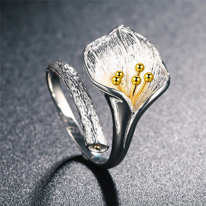 Image 2 - V.YA Adjustable Flower Lily Floral Rings For Women Female 925 Sterling Silver Ring Jewelry Accessories High Quality