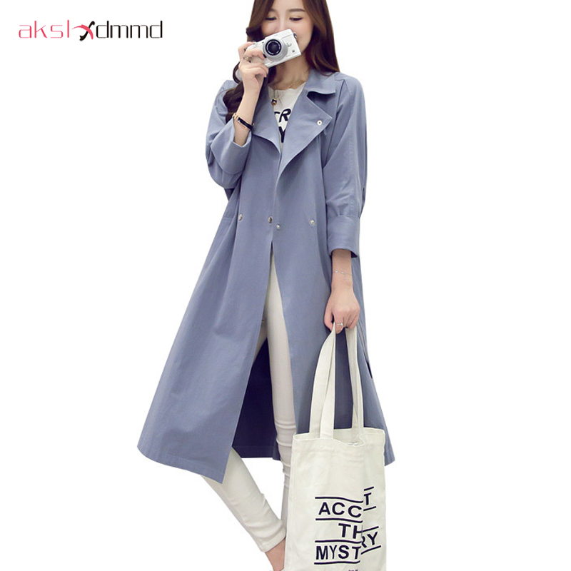 AKSLXDMMD Spring Autumn 2019 New Women's Casual   Trench   Coat Oversize Double Breasted Vintage Washed Outwear Loose Clothing YR026