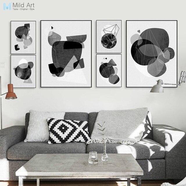 Schwarz Weiß Abstrakte Geometrische Form Nordic Plakat A4 Große Wand Kunst  Leinwand Malerei Moderne Wohnzimmer Home