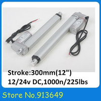 300mm/12stroke electric linear actuator, 225LBS/100KGS/1000N load DC 12V/24V small linear actuator dc China 1PC