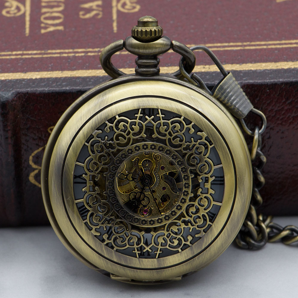 Luxury Brand Hollow Steampunk Skeleton Mechanical Pocket Watch Men Necklace Pocket & Fob Watches With Chain PJX1324