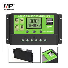 ALLPOWERS 20A 12V 24V Solar Charge Controller with LCD Dual USB 5V Output Solar Cell Panel