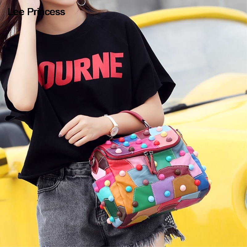 LEE PRINCESS Large Capacity Women Handbag Genuine Leather Sheepskin Stitching Messenger Bag Candy Rivet Lady Shoulder