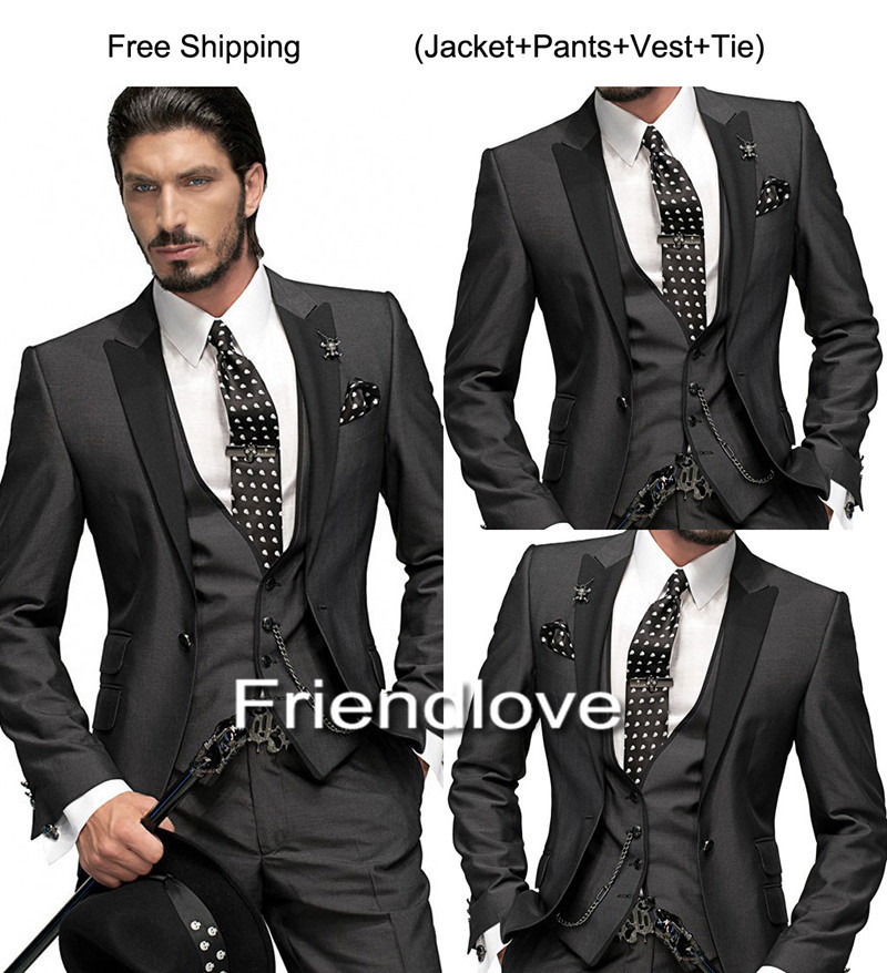 Handsome Clic Black 2018 Wedding Suits For Men Groom Tuxedos Three Piece Mens Slim Fit Groomsmen Suit In From S Clothing Accessories