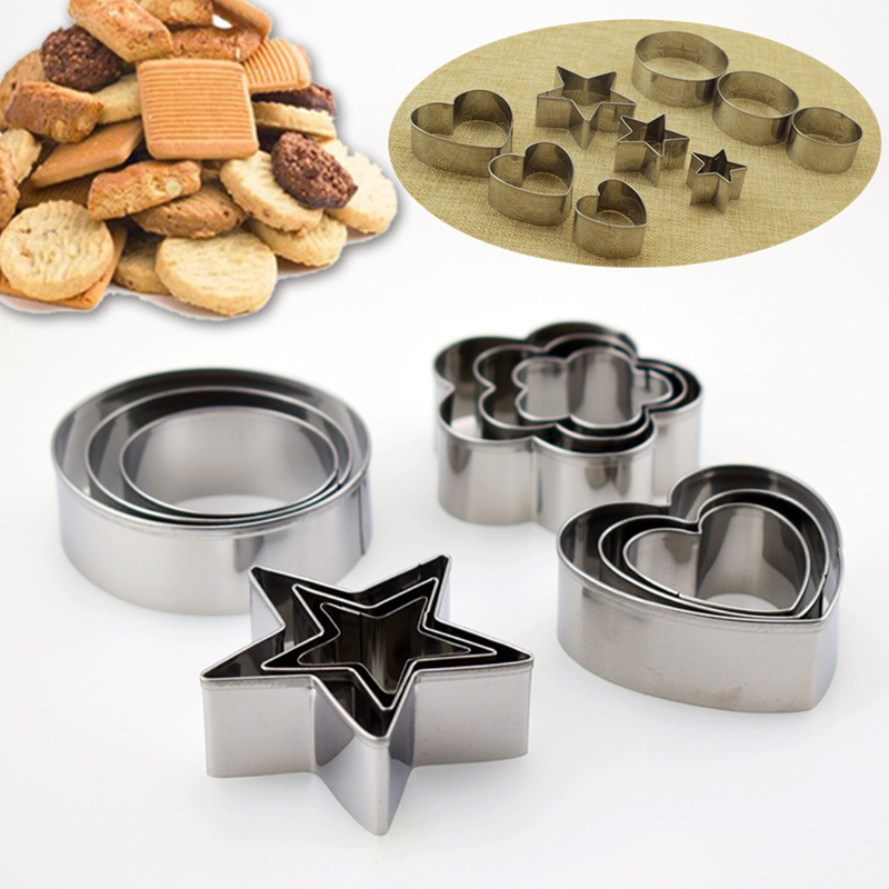 3pcs/set Stainless Steel Heart Star Cake Cookie Mold Cake Baking Cutter Molds DIY Fruit Cutting Moulds Home Kitchen Baking Tools image