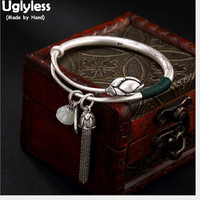 Uglyless 100% Real 990 Pure Silver Chains Tassel Bangles for Women Push pull Charms Bangle Jade Lotus Bracelets Fine Jewelry