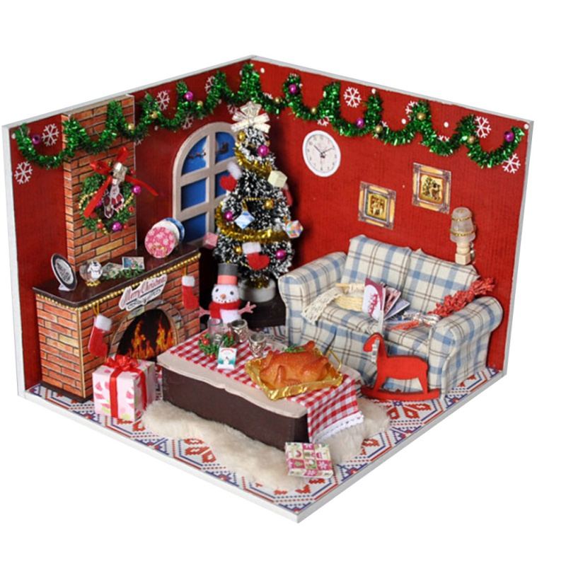 DIY Doll House Wooden Miniature dollhouse Furniture Kit 3D Mini Hand Assembled Model Handcraft Art with LED Light and Music