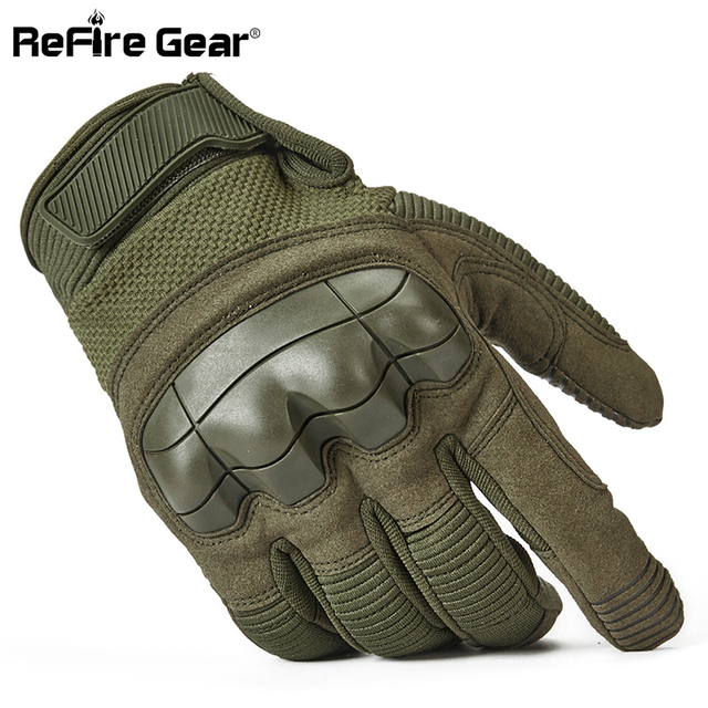 ReFire Gear Tactical Combat Army Gloves Men Winter Full Finger Paintball Bicycle Mittens Shell Protect Knuckles Military Gloves