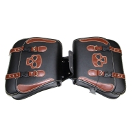 1 Pair Motorcycle PU Leather Saddle Bags Skulls Side Tool Bags Panniers Luggage Side Bags Black