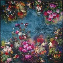 Чистый Шелковый шарф, женский шарф, Цветочный платок, шарф для волос, шелковая бандана, Хит, Цветочный платок на шею, квадратный шелковый платок
