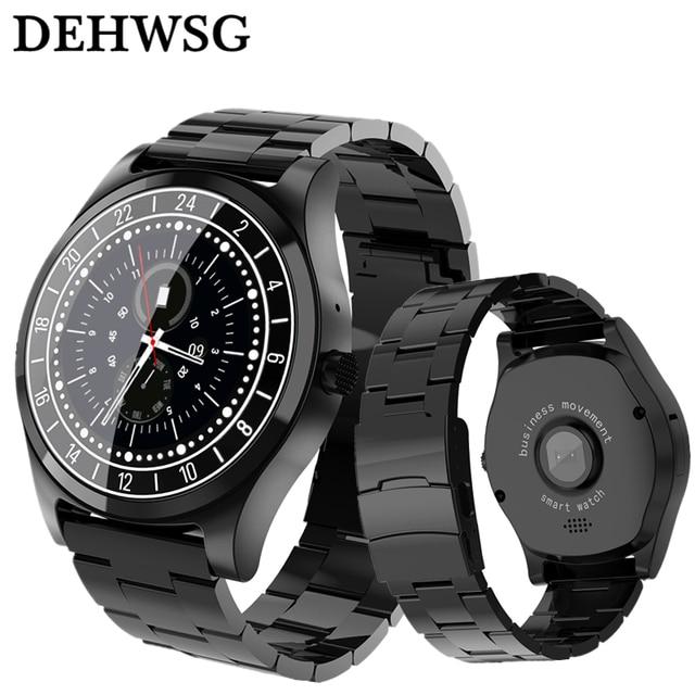 fe8edbe0324 Relógio inteligente DH19 Luxo Completa de Aço Inoxidável Relógio de Pulso relogio  invicta Bluetooth Lembrete Chamada