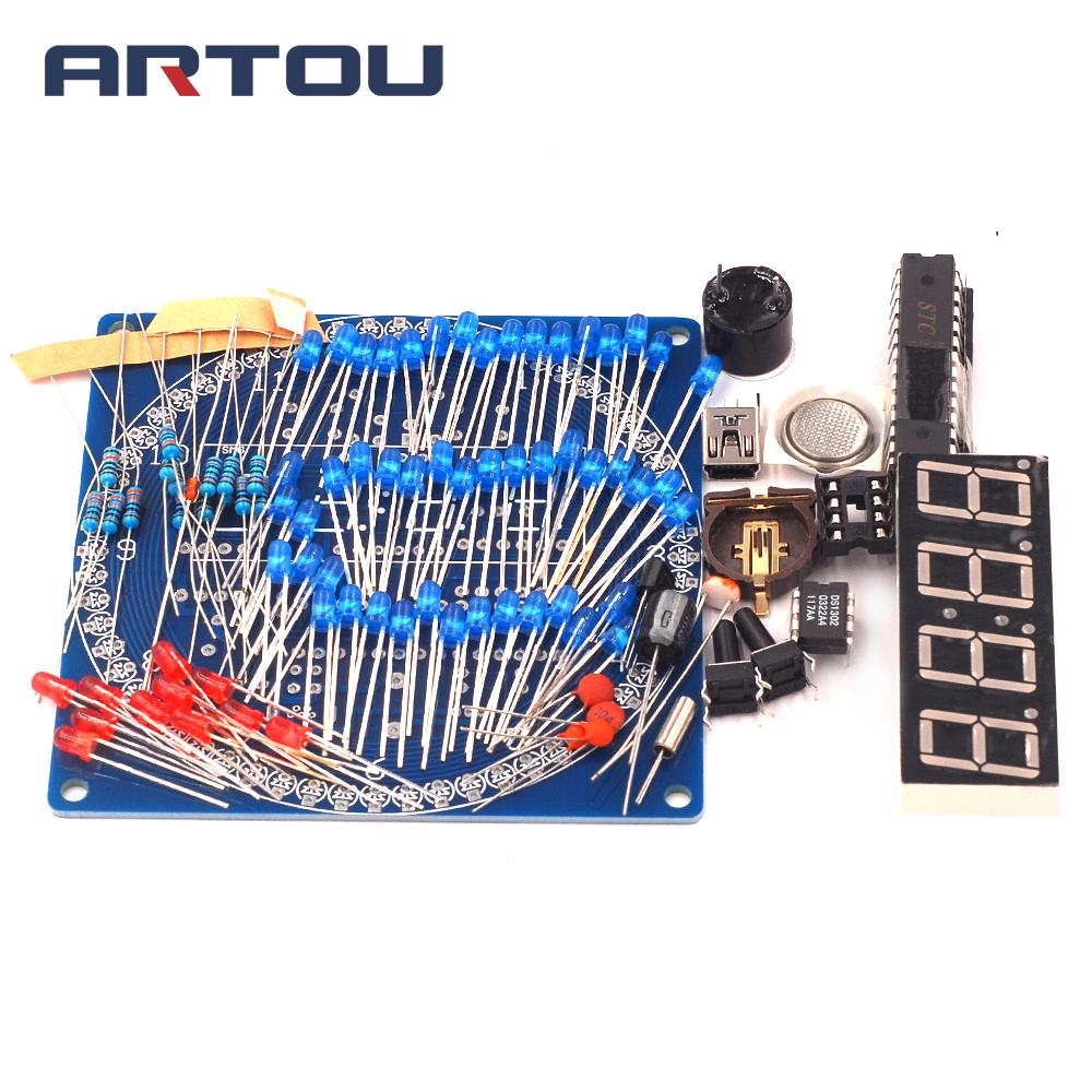 Rotating DS1302 Digital LED Display Module Alarm Electronic Digital Clock LED Temperature Display DIY Kit Learning Board 5V  Rotating DS1302 Digital LED Display Module Alarm Electronic Digital Clock LED Temperature Display DIY Kit Learning Board 5V