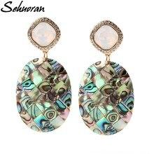 Sehuoran Dangle Earrings For Woman Ocean Shell Big Oval Bohemian Statement Earrings Jewelry Bijoux Best Gifts