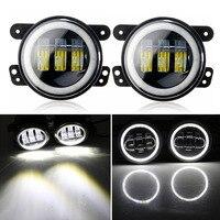 Pair 6000K 30W 4 inch led fog lights with White DRL Halo Ring for Jeep Wrangler Dodge Chrysler Front Bumper Lights