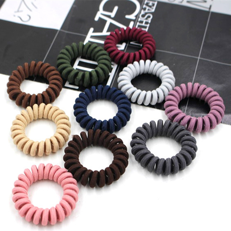 10Pcs/ Lot Elastic Hair Bands Hair Ring Rope Spiral Nylon Rubber Band Traceless Girls Headwear Gum Telephone Wire Line