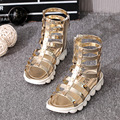 YNB 2017 New Children Summer Shoes for Girls High Cut-Outs Glaidator Sandals for Kids Gold Silver Princess Shoes Girl Child