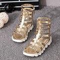 YNB 2017 Novas Crianças Sapatos de Verão para As Meninas High Cut-Outs Glaidator Sandálias para As Crianças de Ouro Sapatos De Prata Da Princesa menina da Criança