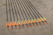 Free shipping quality 12 pcs 30″ pure carbon arrow ID4.2mm spine 900 fixed bullet tip practice archery bow