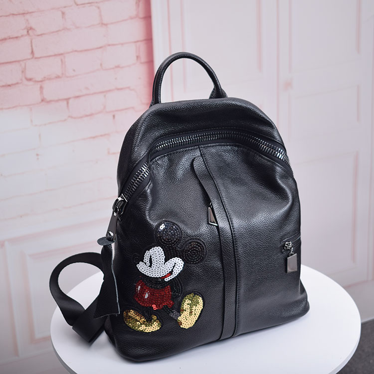 ФОТО 2017 Bag for Women tote bag Cowhide Genuine Leather Backpack Fashion School Bag for Girl Real Leather Freash Backpack 691