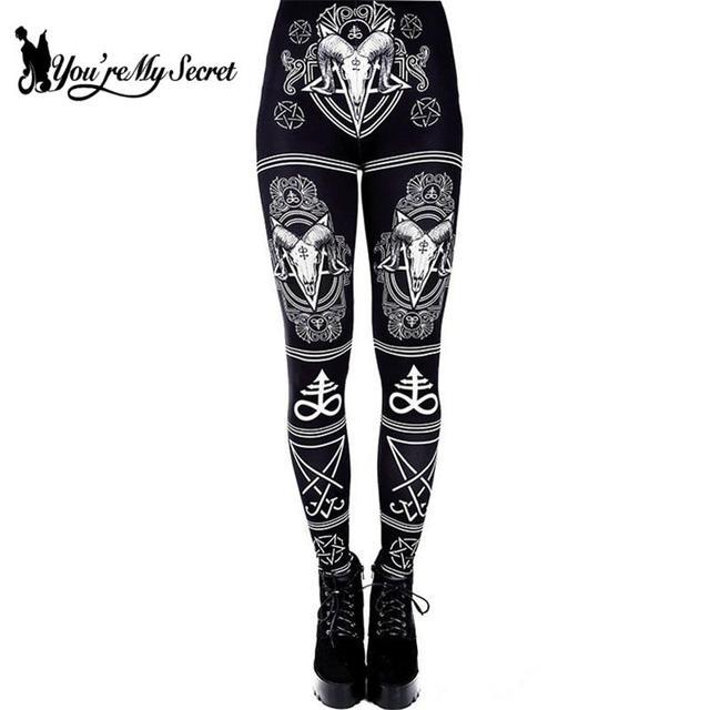 [Youre My Secret] 3D Printed Ouija Devil Satan Women Leggings For Fitness Goat Horn Hexagram Pants Elastic Workout Legin
